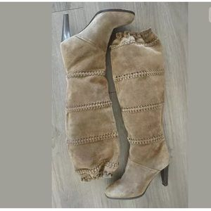 Coach suede braided heeled boots size 6.5 b